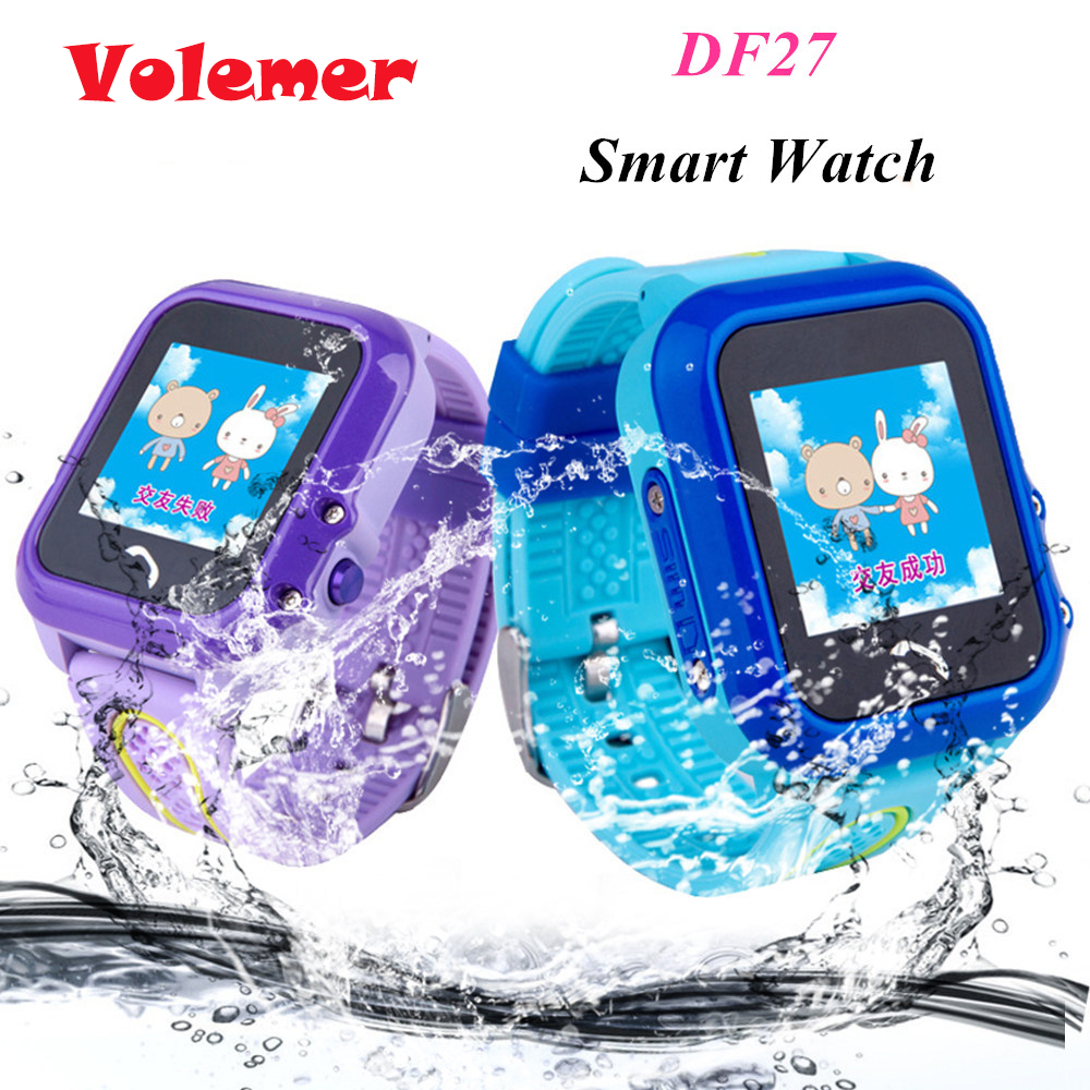 цена на Volemer DF27 Waterproof Kids GPS Swim phone smart watch SOS Call Location Device Tracker Baby Safe Anti-Lost Smartwatch pk DF25