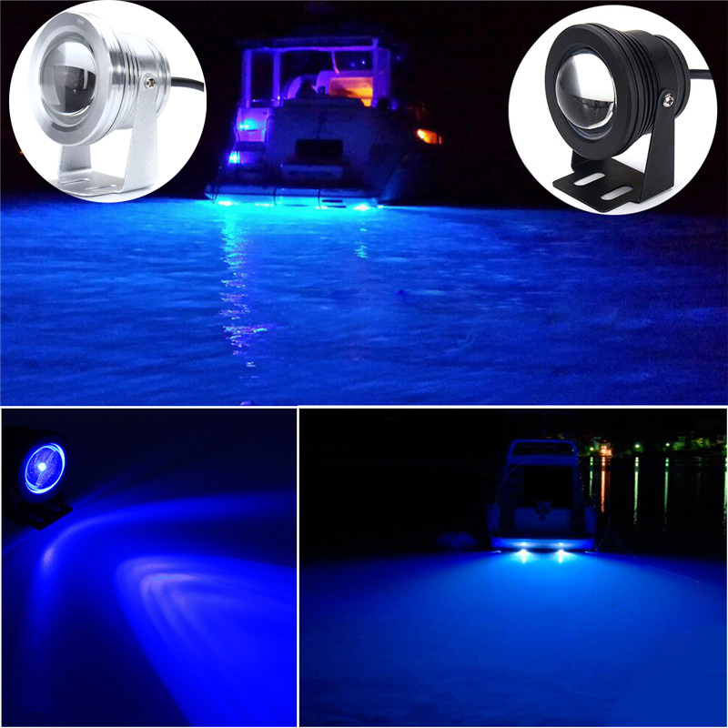 12V 10W Underwater Light Marine Boat Yacht Fishing Lamp LED Flood Light Blue White