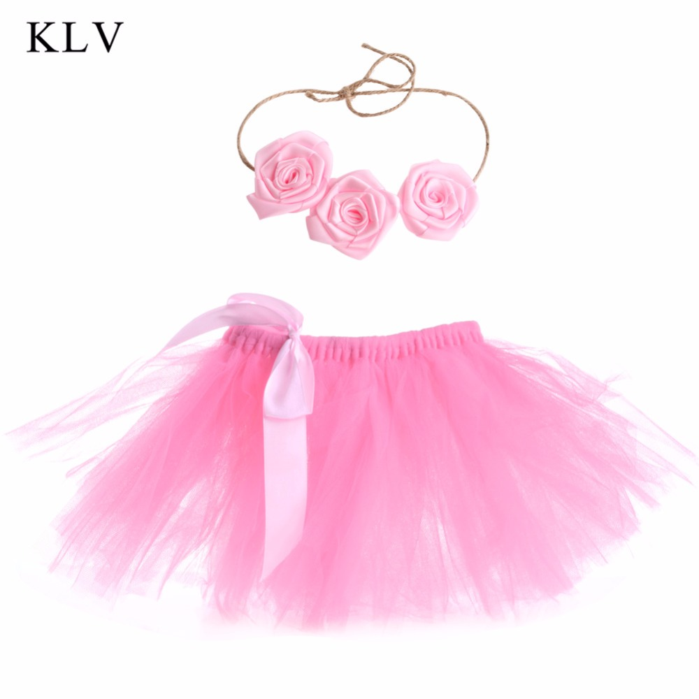 KLV  Lovely Baby Newborn Toddler Girls Hairband Tutu Skirt Photo Prop Costume Outfit