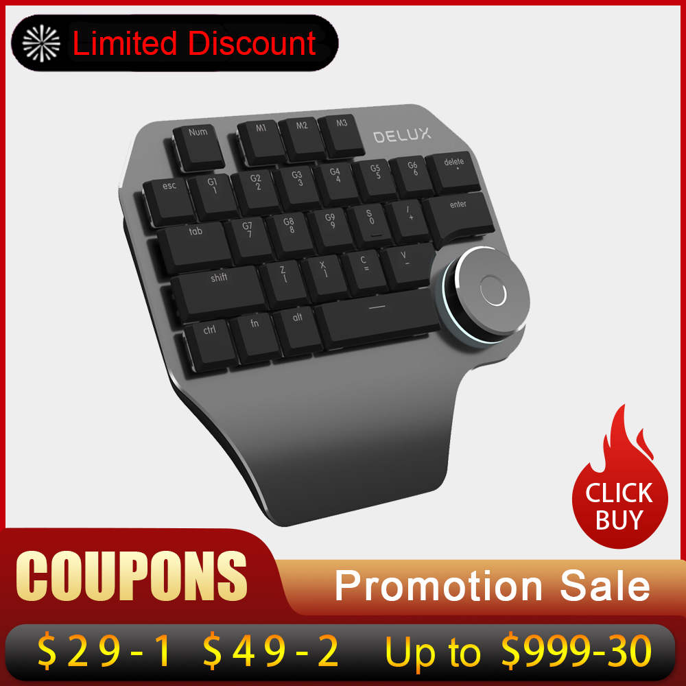 Delux T11 Designer Keyboard Keypad with Smart Dial 3 Group Customized Keys for Windows Mac OS & Design Software For PC Laptop-in Keyboards from Computer & Office
