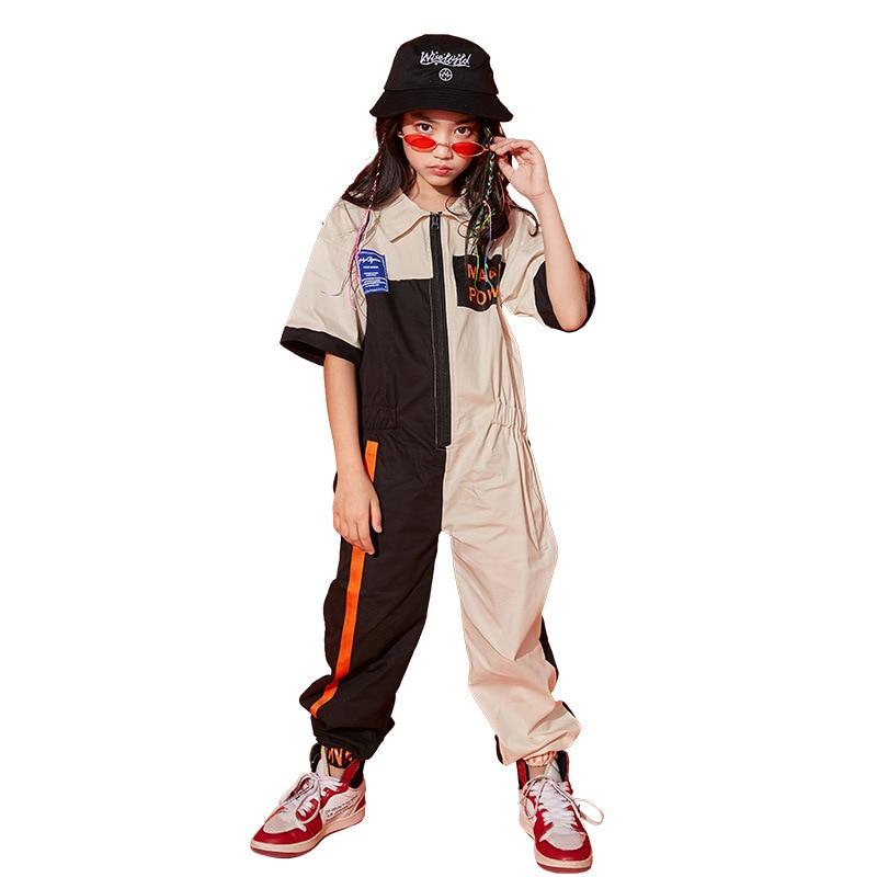 Spring Autumn Adlut Kids Hip Hop Tribal Dance Costume wear Boys Girls Patchwork overalls one piece Pants harem jazz   jumpsuit