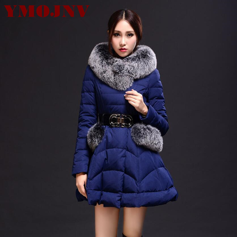 YMOJNV New Real Fox fur collar Winter 90% Down Parka Female 2017 Winter Down Jacket Women Thick Warm Slim Hooded Winter Coat