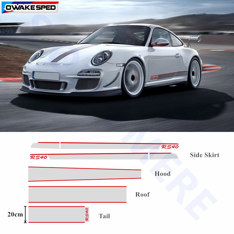 For Porsche 911 Whole Body Decal Door Side Skirt Stripes Auto Hood Tail Roof Sticker Car