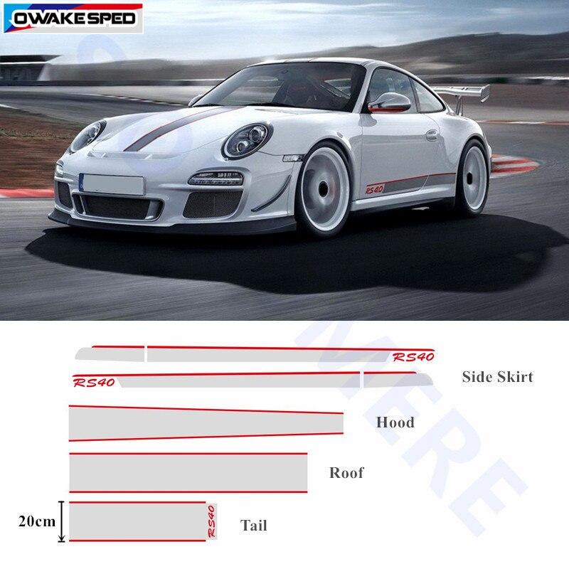 Pour Porsche 911 Corps entier Autocollant Porte Jupe Latérale Rayures Capot Automatique Queue Toit Décor Autocollant Voiture D'origine Décalque Sport RS40 Style