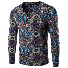 2016 autumn and winter new men 's long – sleeved T – shirt fashion casual floral long – sleeved T – shirt bottoming shirt men' s