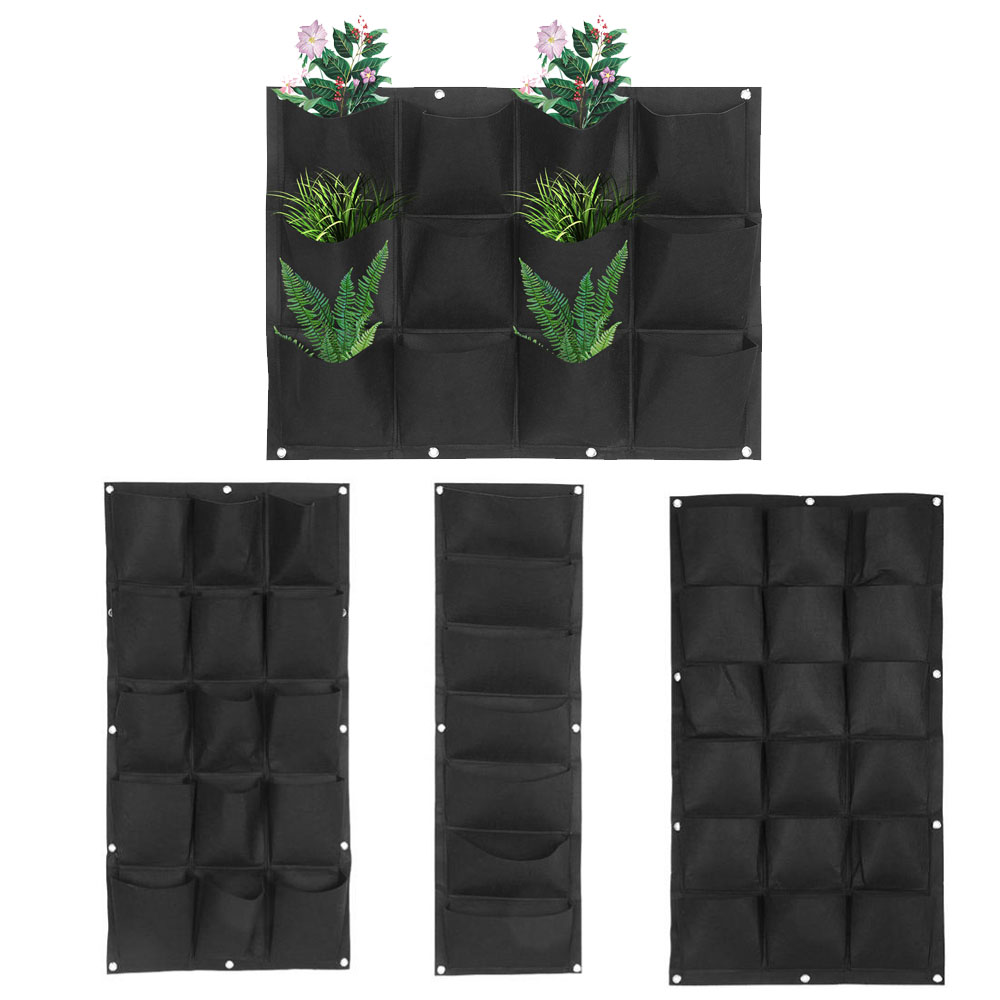 7/12/15/18 Pockets Jardin Vegetable Plant Wall Hanging Garden Black Felt Fabric Nursery Bags Plant Grow Bags Grow Bag Pots Garde