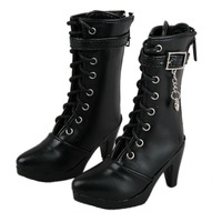 [wamami] 27# Black 1/3 BJD SD Dollfie Synthetic Leather High heels Boots/Shoes