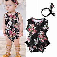 TELOTUNY Baby Girls Floral Romper Jumpsuit Summer Newborns Clothes Children Clothing With Headband A803 15