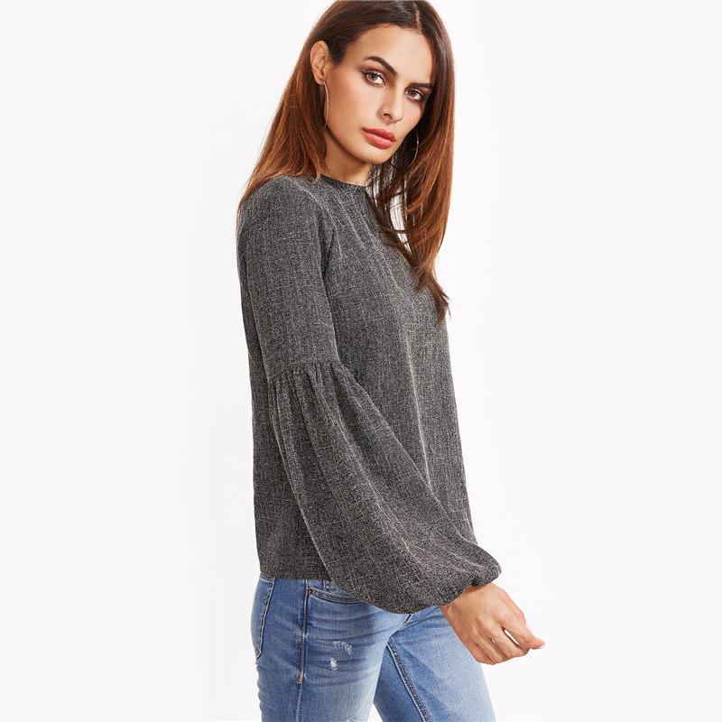 HTB1jhCROVXXXXanaFXXq6xXFXXXC - Women Shirt Ladies Grey Lantern Long Sleeve Blouse