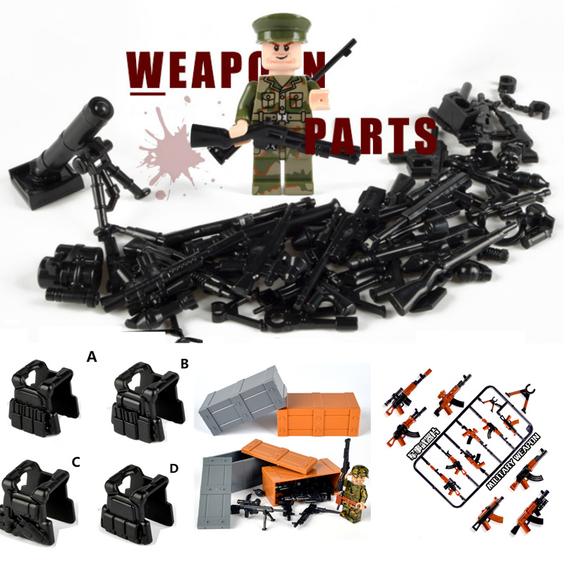 Guns Weapon Pack Military Swat Team Building Blocks City Police Soldiers Figure WW2 LegoINGlys Military Army Builder Series Toys military city police swat team army soldiers with weapons ww2 building blocks toys for children gift