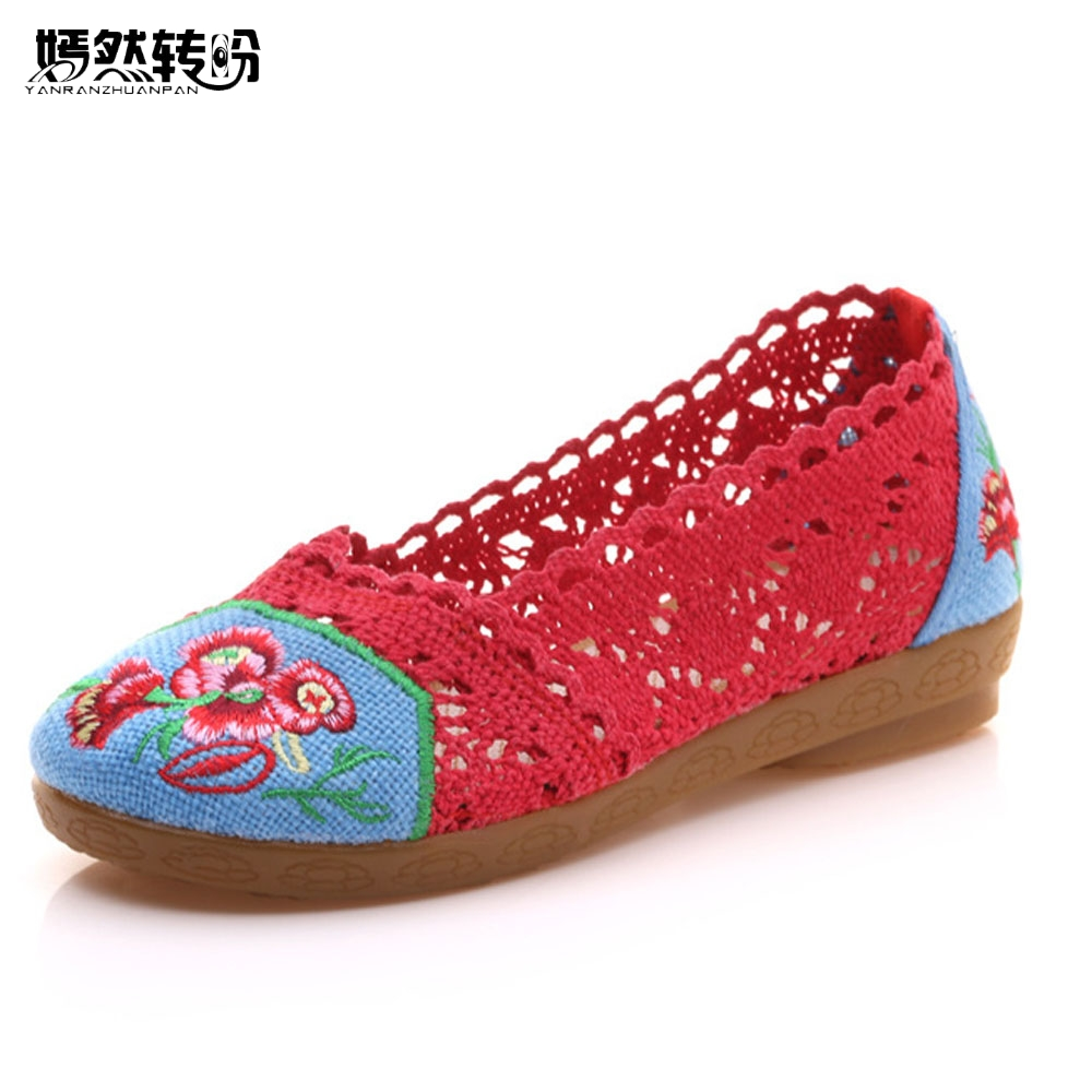 Women Flats Shoes Breathable Lace Floral Embroidered Summer Ballets Slip On Ladies Casual Comfort Soft Cotton Zapatos De Mujer vintage embroidery women flats chinese floral canvas embroidered shoes national old beijing cloth single dance soft flats