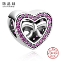European Sterling Silver 925 Crystal Heart Charms Fit Pandora Original Bracelet Necklace For Women Girl Jewelry Christmas Gift