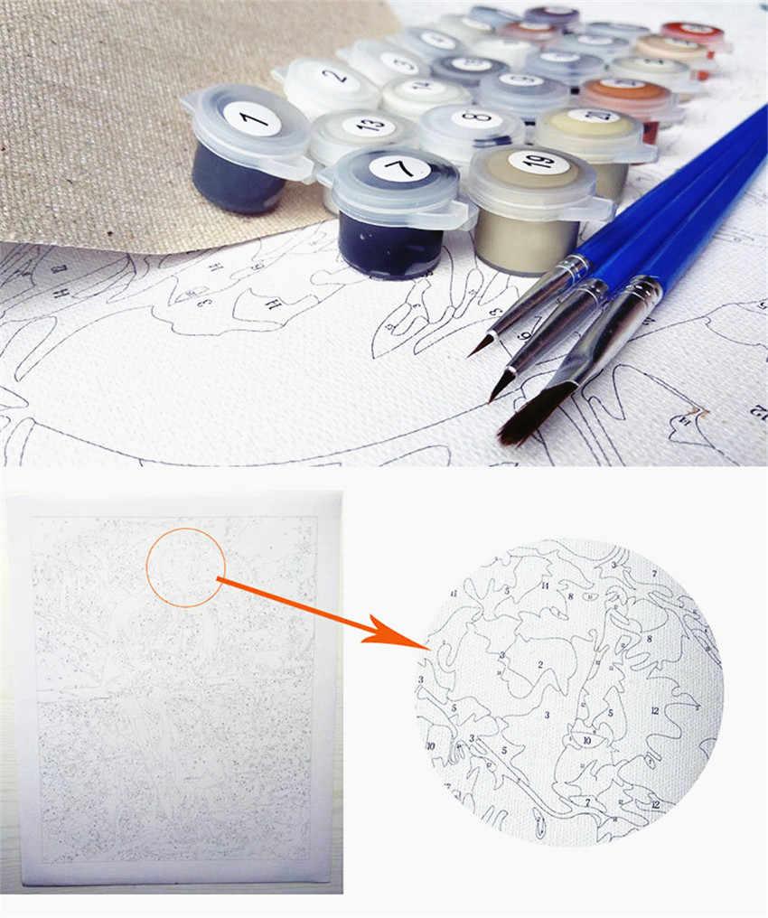 DIY цифровая картина маслом цифры пакет Серая Сова настенные наклейки с картинами маслом наборы раскрашивания стены искусства картина подарок бескаркасные