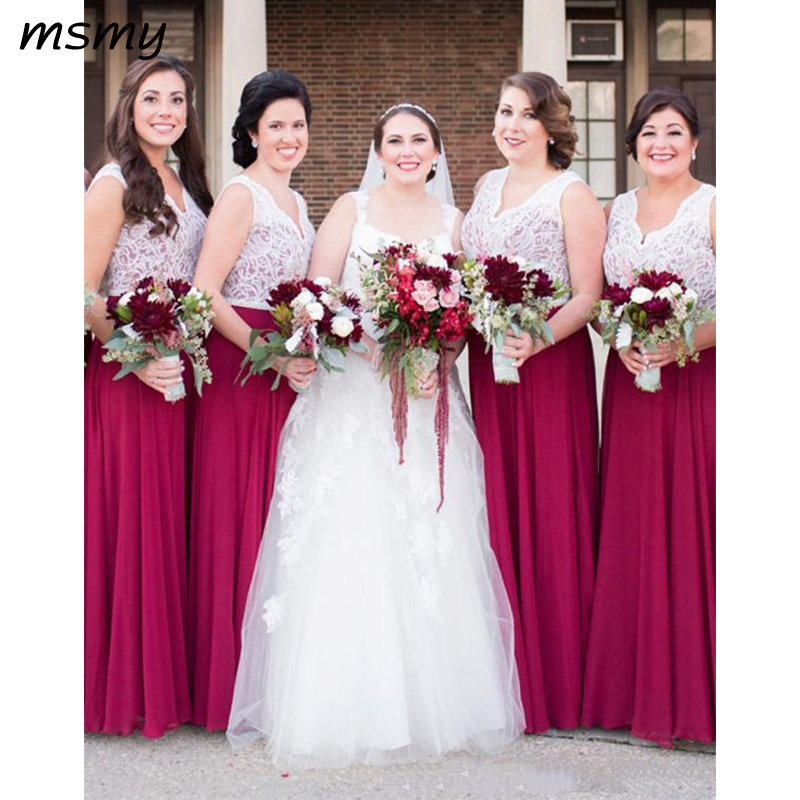 V-Neck Lace Top A-Line Long   Bridesmaids     Dresses   Floor Length Sleeveless Spring Honor Of Maid Cheap Guest Party Gowns Simple