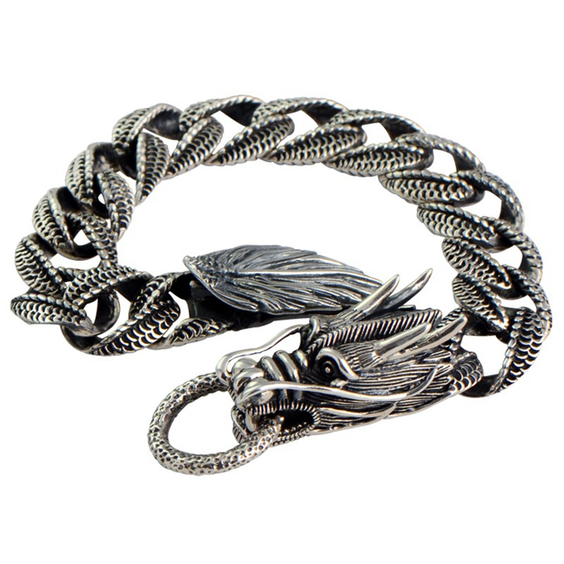Fashion 925 Sterling Silver Domineering Vintage Thai Chinese Dragon Head Men Male Heavy Jewelry Bracelet CH019653 925 sterling silver men bracelet dragon scale bracelet men s coarse heavy thai silver chain punk fashion personality bracelet