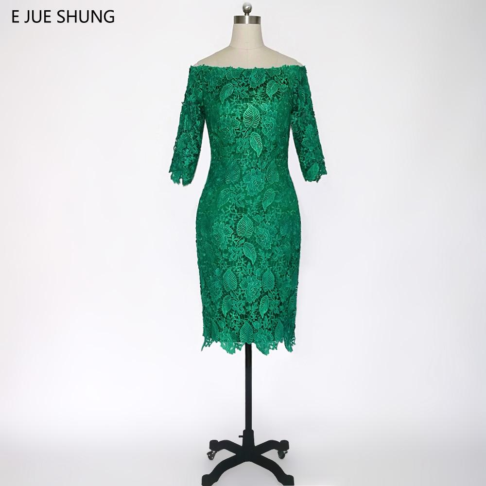 E JUE SHUNG Grüne Spitze weg von der Schulter Kurze Abendkleider 3/4 Ärmeln Kleider für die Brautmutter Abendkleid