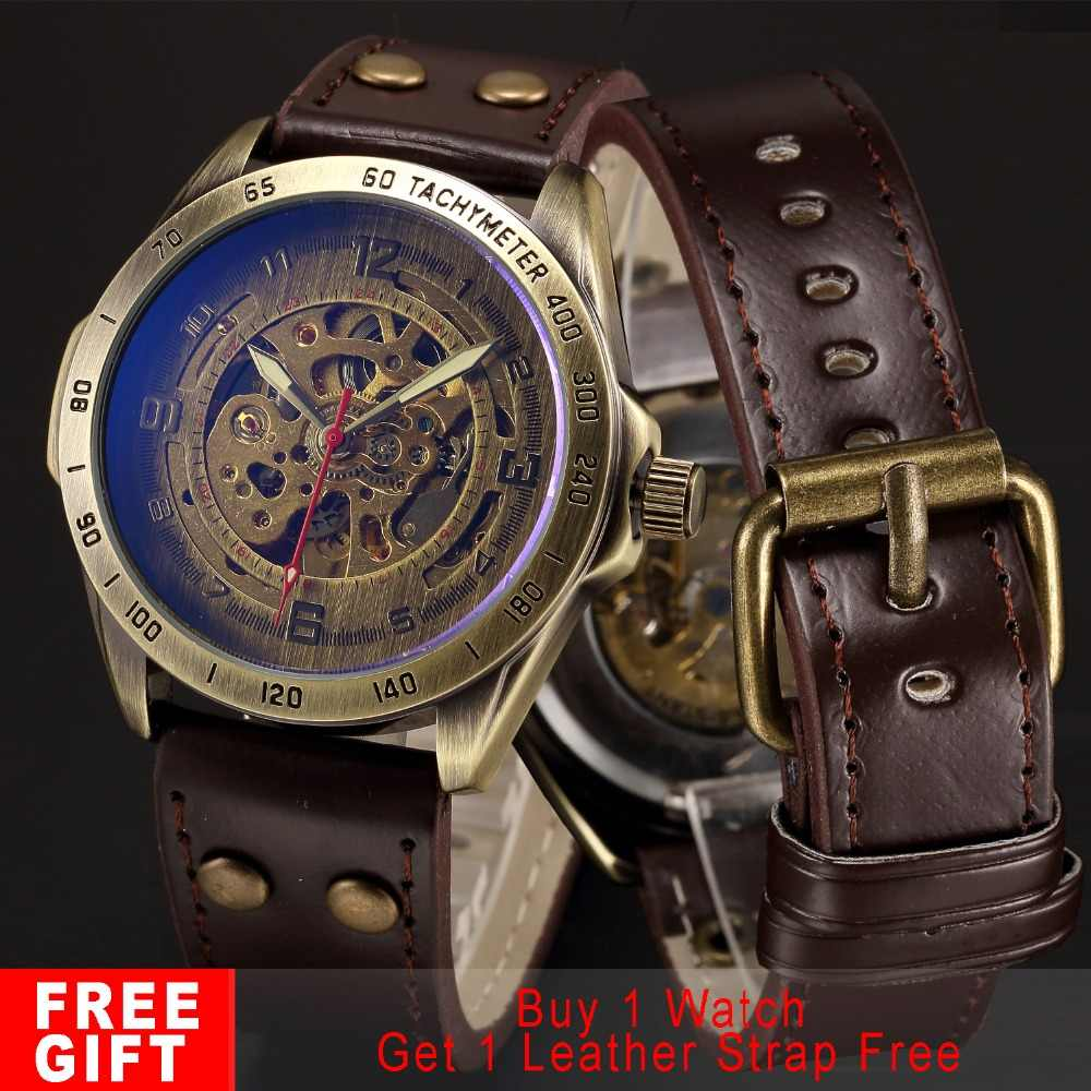 006f06f6f96b Esqueleto mecánico automático reloj de los hombres de bronce Steampunk  reloj para hombre transparente de cuero