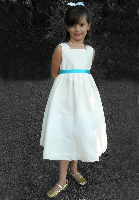 A-Line Flower Girls Dresses For Wedding Gowns White Girl Birthday Party Dress Mid-Calf Baby Girl Clothes Mother Daughter Dresses new white ivory nice spaghetti straps sequined knee length a line flower girl dress beautiful square collar birthday party gowns