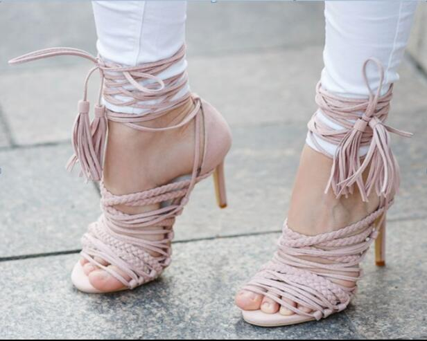 New arrival high heel pink sandals super high thin heels open toe narrow band&fringe decoration ankle strap women shoes grey 2017 women fashion high heel platform sandals super high thin heels ankle strap faux fur decoration cutouts blue women shoes