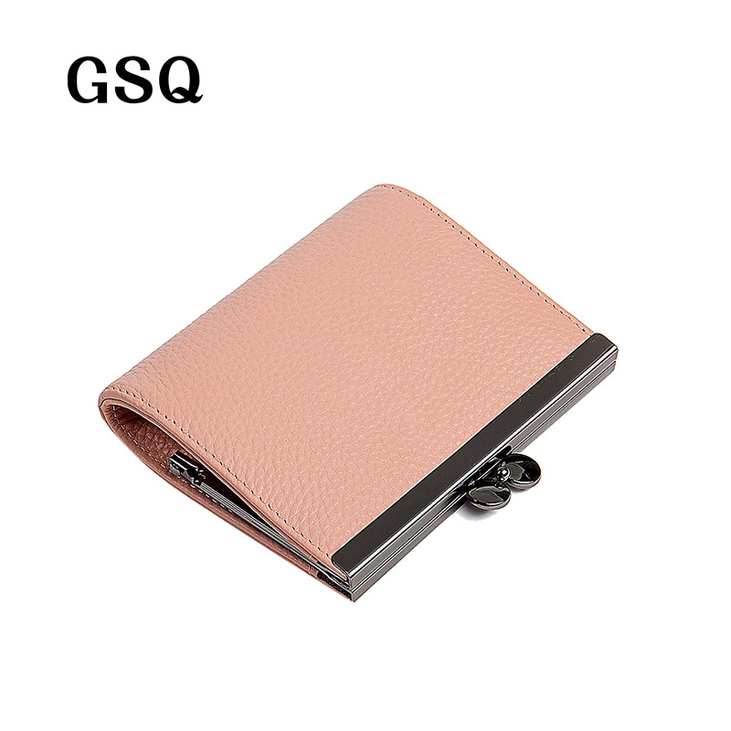 GSQ Women Wallet Genuine Leather Women Short Wallet High Quality Cowhide Leather Coin Pocket Money Pocket Small Girl Purse NQ673 2017 genuine cowhide leather brand women wallet short design lady small coin purse mini clutch cartera high quality