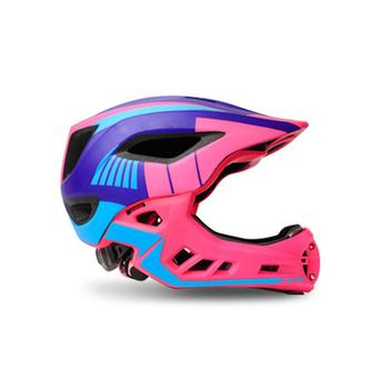 Children Full Face Helmet with Tail LED Balance Bike Kids Detachable Helmet Safety Protective Gear for Skating Scooter Cycling