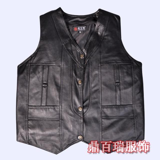 new winter 2016 men's leather sheepskin wool vest liner