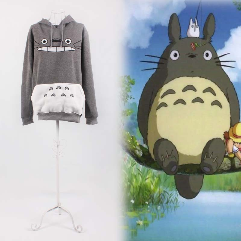 Wholesale cute girls Totoro hoodies ear style for women men hood pullovers gray cotton my neighbor sweatshirt anime cartoon tops ...