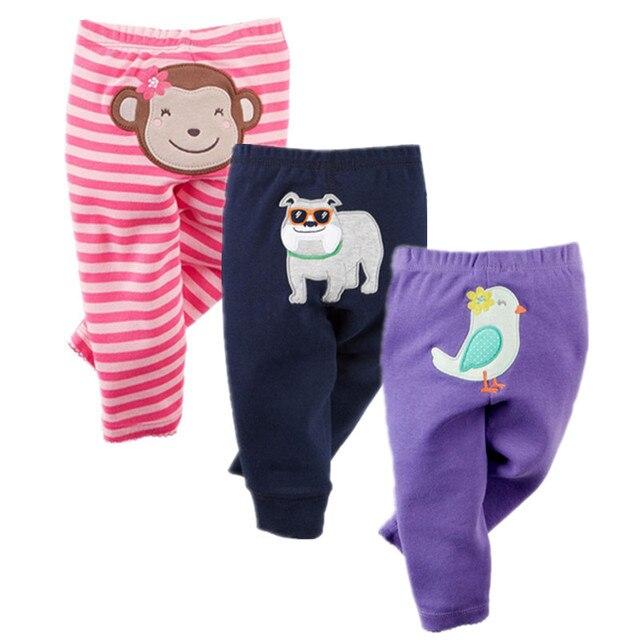 7550a0622d38 3PCS Cotton Baby Pants Spring Baby Girl Clothes Cartoon Newborn Bebe ...