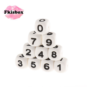 Image 1 - Fkisbox 12mm 100pcs Number Silicone Cube Beads Heart Star Bpa Free Baby Teething Necklace Babies Teether DIY Combined Birthday