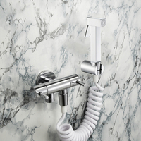 Toilet Bidet Shower Hand Sprayer Shower Bidets Bathroom Chrome Plated Brass Bath Accessories With 1.5m Shower Hose Telescopic