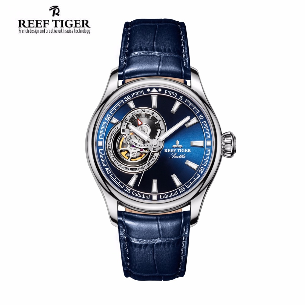 Reef Tiger/RT Causal Watch for Men Genuine Leather Strap Blue Dial Watches Tourbillon Quartz Analog Wrist Watch RGA1639 yn e3 rt ttl radio trigger speedlite transmitter as st e3 rt for canon 600ex rt new arrival