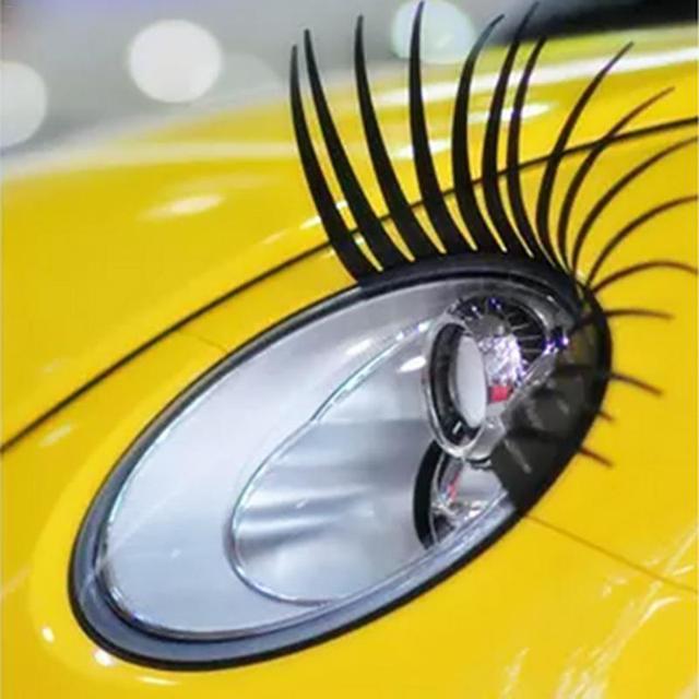 2 pcs 3D Preto Encantador Cílios Postiços Falso Eye Lash Adesivo Decoração Do Farol Do Carro Engraçado Decalque Para Besouro Frete Grátis