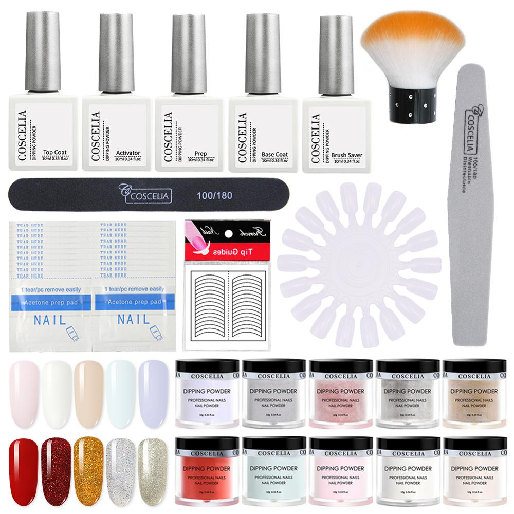 COSCELIA Dipping-Powder-Set Glitter-Tools Nail Manicure for All
