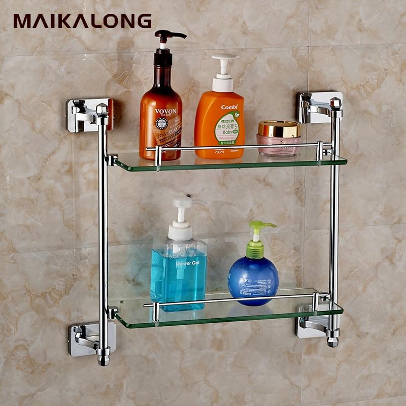 Square Design Double Bathroom Shelves,Glass Shelf, Chrome Finish Base+glass Shelves,Bathroom
