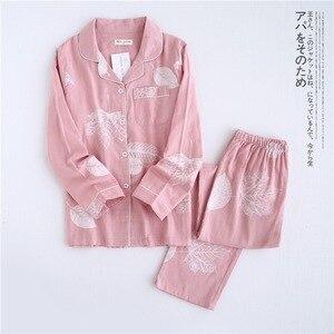 Image 4 - Fresh maple leaf pajama sets women 100% gauze cotton long sleeve casual sleepwear women pyjama pijamas para mujer