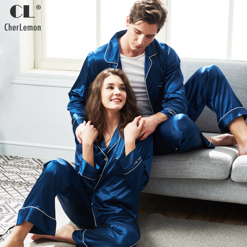 CherLemon Couple Satin Pajama Sets Mr and Mrs Long Button Down Silky Sleepwear Spring Soft Royal Blue Nighty for Women and Men