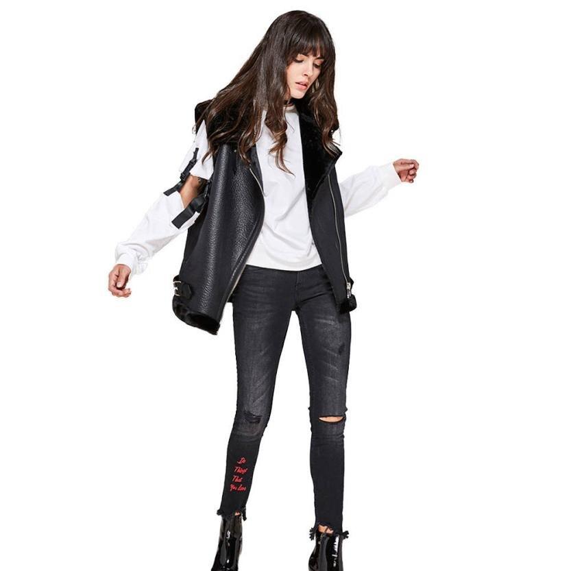 Women Winter Slim Leather Jacket Zipper Imitation Fur Outwear Coat Sleeveless Jacket S M L XL 17Dec15