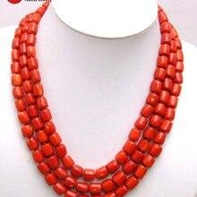 """Qingmos натуральное красное Коралловое ожерелье для женщин с настоящим 10-12 мм толстым кусочком кораллового чокера ожерелье 3 нити 1"""" ювелирные изделия n5847"""