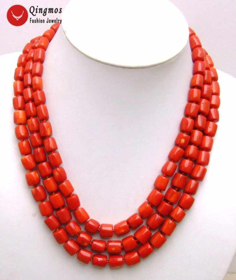 "Qingmos Natural Red Coral Necklace for Women with Genuine 10-12mm Thick Slice Coral Chokers Necklace 3 Strands 18"" Jewelry n5847"