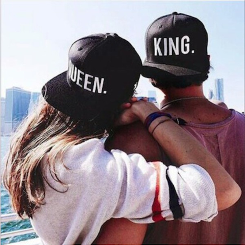 KING QUEEN Snapback Embroidery Hat Acrylic Men Women Couple Baseball Cap Gifts Lovers Cap Hip Hop Hats Super Fashion Black