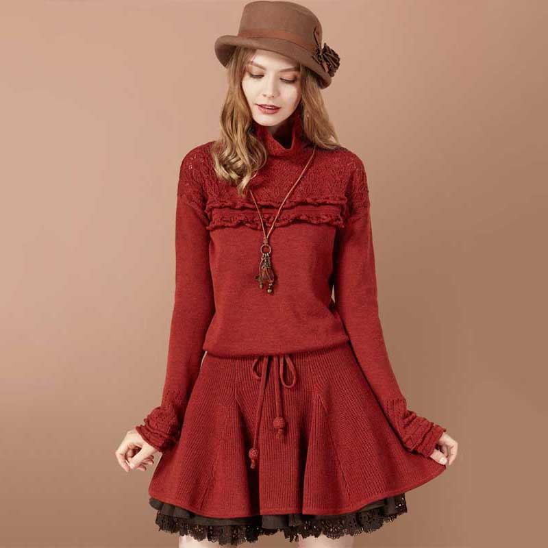 ARTKA Autumn Sweater Dress For Women 2018 Wool Pullover Long Lace Sweater Female Korean Ruffle Sweater Knitted Pullover LB10275Q
