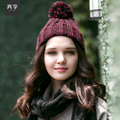 Lady Winter Warm Wool Knitted Hat Female Fashion Handmade Knitting Hat Black and White Colours Nifty and Warm Wool Cap B-4568