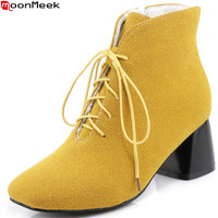 MoonMeek Fashion New Arrive Women Boots Square Toe Zipper Ladies Boots Cross Tied Black Gray Yellow