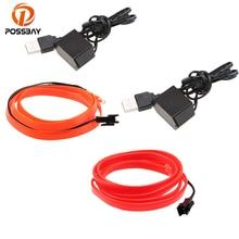 цена на POSSBAY LED Strip Flexible Neon Atmosphere EL Wire Rope Tube Neon Light 3M For Car Interior Light With USB Controller