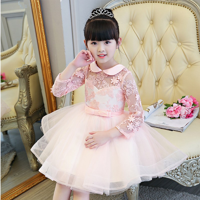 New Autumn Winter Kids Girls Birthday Party Long Sleeves Princess Lace Dress Nice Pink Birthday Wedding Dress Christmas Clothes uoipae party dress girls 2018 autumn