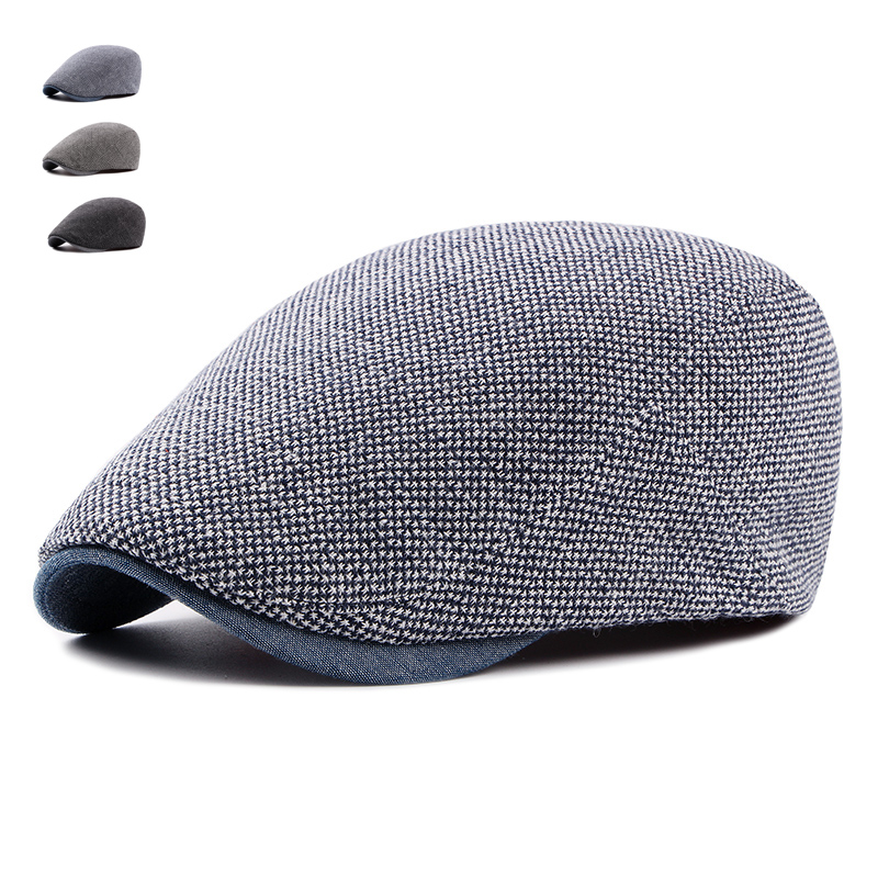 Adjustable Beret Caps for Men Women Spring Summer Outdoor Breathable Bone Brim Hats Herringbone Solid Sun Hat Flat Berets Cap