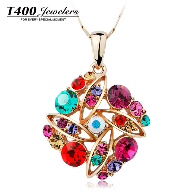 T400 Mother's day gifts multicolor flower pendant necklace made with swarovski elements collares mujer #1714, free shipping
