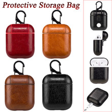 Genuine Leather Hook Case For AirPods Vintage Matte Apple Airpods Luxury Protective Storage Bag Black Brown Drop shipping