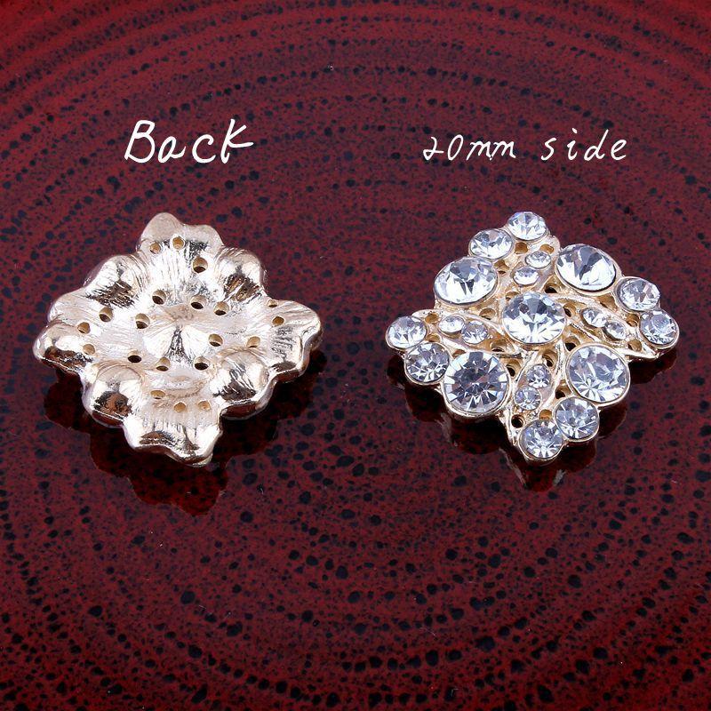 50 шт. 20 мм кристалл meatl горный хрусталь кнопки Rhinestone сплава Пуговицы в серебро и золото плоской задней Украшения rmm284
