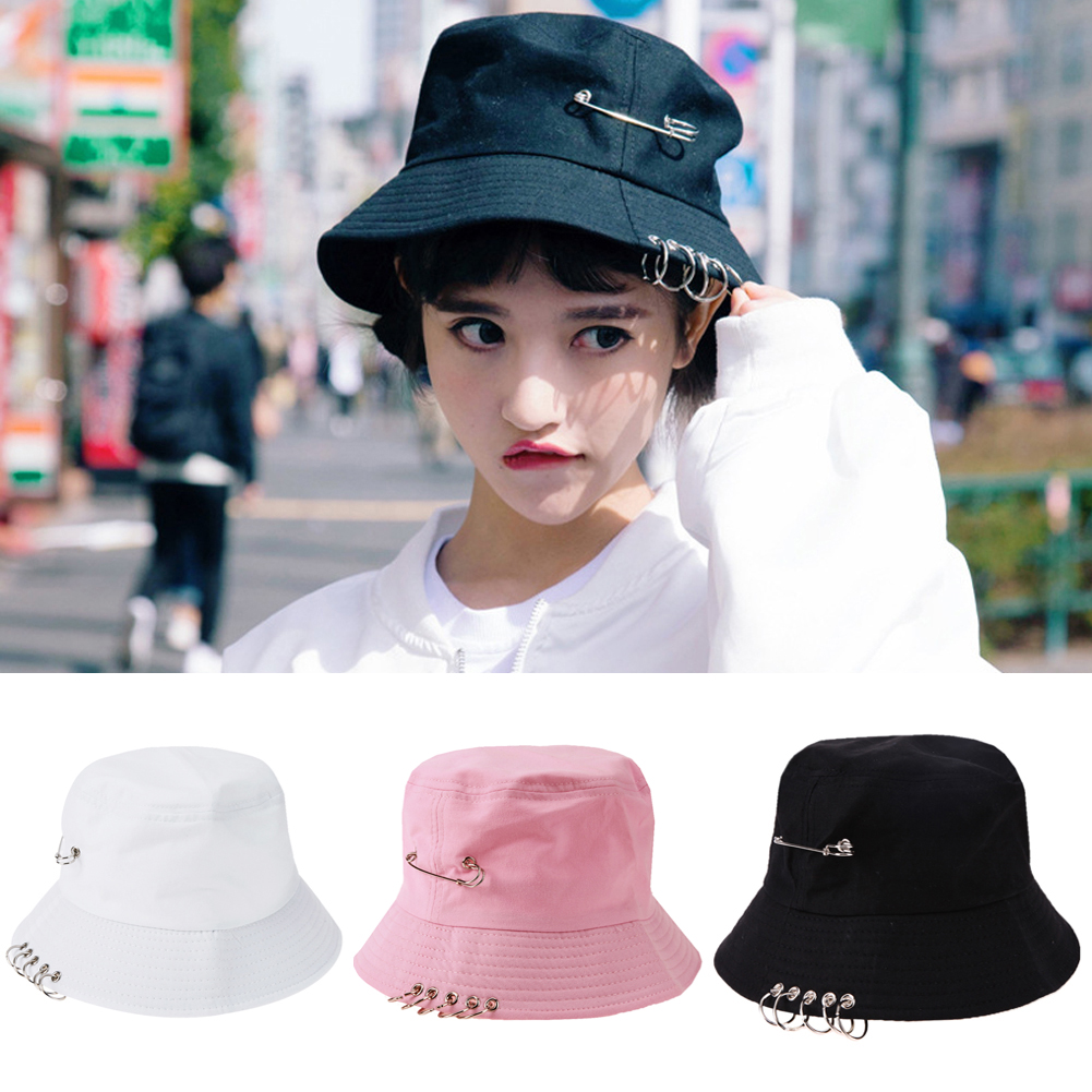 Unisex Iron Ring Bucket Hat Spring Summer Girl Boy Fisherman Hip Hop Sun Hat Female Male Folding Outdoor Travel Cool Solid Cap